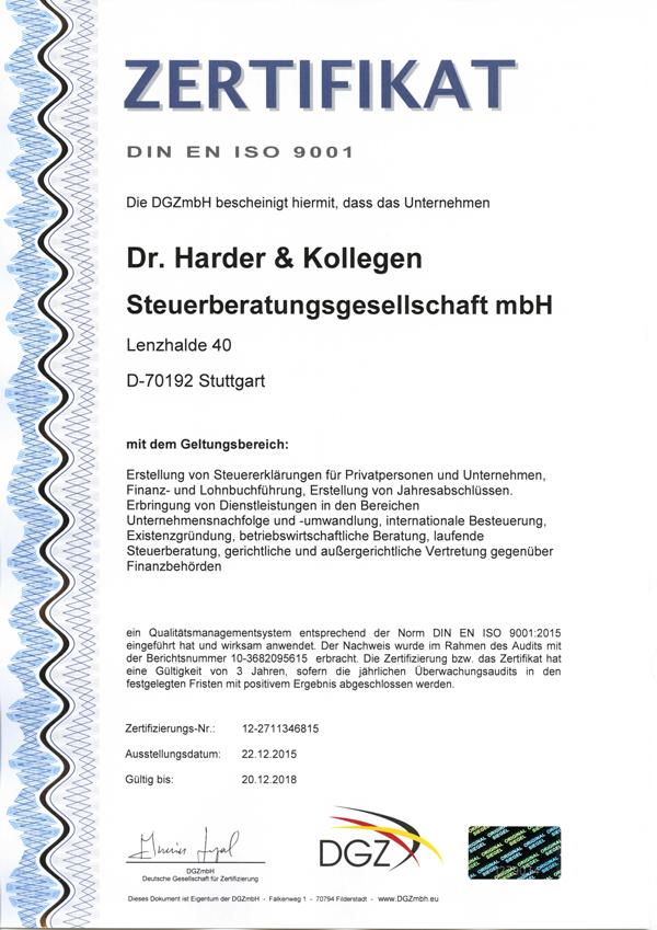 Zertifikat Iso 9001 2005 bis 2018